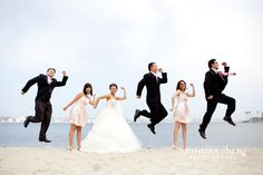 Jumping bridal party pose // Wedding at the Lighthouse Restaurant, San Diego // Christine Chang Photography. Lighthouse Restaurant, Goofy Couples, Bridal Party Poses, San Diego Wedding, Some Pictures, Engagement Pictures, Wedding Photography, Wedding Dresses, Bride Dresses