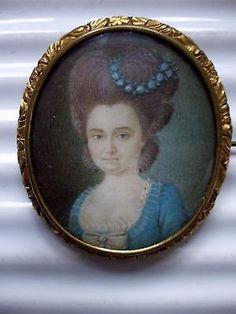 Miniature peinture ancienne époque XVIII Louis XVI,Marie Antoinette,noble dame