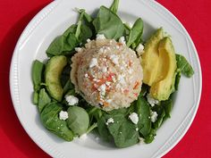 Reid Mediterranean Quinoa Salad - This healthy salad features diced tomatoes, cucumbers, avocado and spinach.