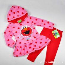 Wholesale cartoon set winter girls suit elmo Sesame Street fleece jacket with red cotton Leggings suit Girl Christmas gift(China (Mainland))