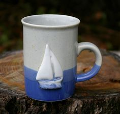 Blue Sail Boat Dipped Pottery Art Coffee Mug Cup Raku Pottery, Pottery Mugs, Pottery Art, Pottery Ideas, How To Better Yourself, Improve Yourself, Finding Yourself, Pottery Supplies, List Of Tools