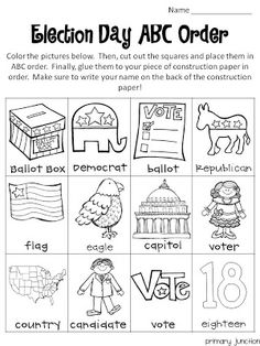 Here is an Election Day freebie! This ABC Order sheet goes over some important vocabulary words just in time to get your students prepared . Teacher Freebies, Classroom Freebies, Social Studies Activities, Teaching Social Studies, Kindergarten Social Studies, Election Day, Presidential Election, Lisa, American Symbols