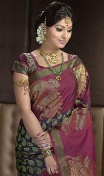 Purple maroon green sari emerald