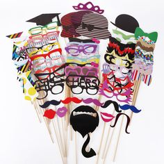 76 Pcs Party Mask Photo Booth Props Moustache Hat On A Stick Birthday Christmas