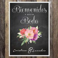 BIENVENIDOS A NUESTRA BODA - Flowers Watercolors Pizarra