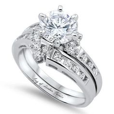 Love this real eye catching bridal set It has 6 prongs and sits up very high and is large looking round cut Russian lab diamond. The wedding band is separate and can be worn alone. Beautiful and unique. Russian lab diamonds are grown by a. Celtic Wedding Rings, Wedding Rings Solitaire, Wedding Rings Vintage, Wedding Ring Bands, Engagement Rings, Wedding Engagement, Solitaire Diamond, Diamond Rings, Bridal Ring Sets