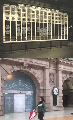 The country trains arrivals indicator board at Central Station in the 1930's and the same spot in 2016. [State Records NSW > Phil Harvey. By Phil Harvey]