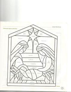 me ~ molde triptico Stained Glass Patterns Free, Stained Glass Quilt, Faux Stained Glass, Stained Glass Designs, Stained Glass Panels, Stained Glass Projects, Diy Nativity, Christmas Nativity Scene, Christmas Art