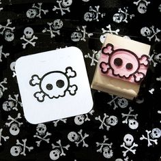 Small Skull & Cross Bones Hand Carved Stamp