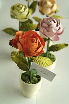 Cabbage Rose Place Card Holders