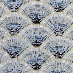 Fan Club Blue Ombre With Brass Gloss Glass Mosaic - Tiles - Dering Hall