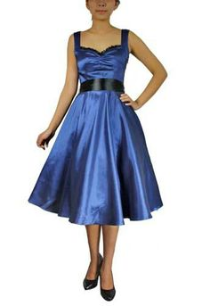 """Blue satin swing dress with ruched bust, removable black ribbon belt and full circle skirt. Size 12. Bust: 40"""" Waist: 30"""" $22 shipped."""