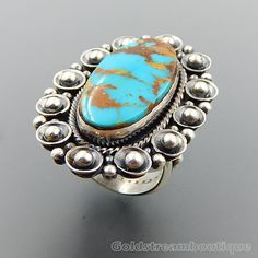 HANDCRAFTED STERLING SILVER MOUNTAIN OVAL TURQUOISE BEADED WIDE RING SIZE 11 #Beaded