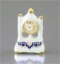 Blue Royal Tall Mantle Clock | Mary's Dollhouse Miniatures