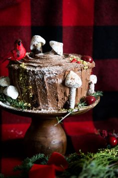 Yule Log Layer Cake with Sour Cream Frosting @daisysourcream #DollopOfDaisy #sp