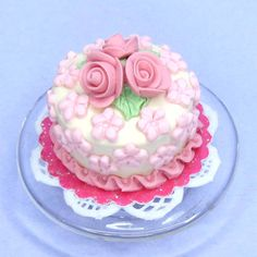 Polymer clay Dolls house miniature cake pretty little pink flowers Dollhouse miniature food. $10.00, via Etsy.