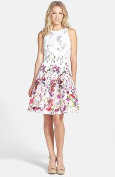Maggy London Print Stretch Cotton Fit & Flare Dress (Regular & Petite) available at #Nordstrom