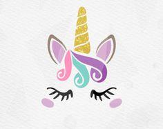 Unicorn SVG - Unicorn Head SVG - Unicorn Face SVG - Unicorn horn Birthday - Cricut Silhouette - pdf png svg - girls birthday