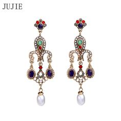 JUJIE Brand Gold Color Multicolor Crystal Earrings For Women 2017 New Vintage palace long Stud Earrings Pearl Fashion Earrings #Affiliate