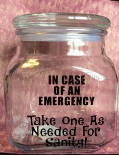 Custom funny candy jar sanity emergency office home counter glass container Christmas Vinyl, Christmas Candy, Candy Jars, Candy Dishes, Office Candy Jar, Mason Jar Crafts, Mason Jars, Candy Drawing, Snack Jars