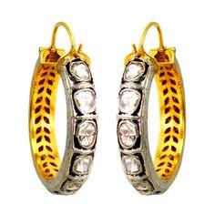 Rose Cut Diamond Hoop Earrings 14K Gold Vintage Style Sterling Silver Jewelry #Handmade