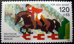 Grid based illustration on a stamp. Berlin, German Stamps, Going Postal, Kingdom Of Great Britain, Show Jumping, Penny Black, Horse Art, Stamp Collecting, Postage Stamps