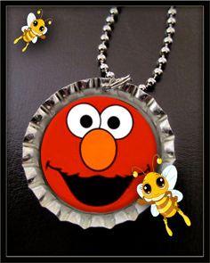 Elmo Bottle cap Necklace