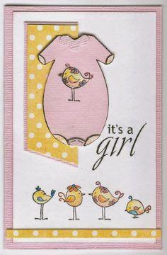 baby suit 4348D, it's a girl 4349C, birdies 4246D: Stamp-it Australia. Card by Susan of Art Attic Studio