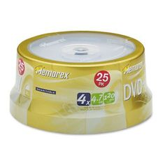 Memorex : Disc DVD+RW 4.7GB 4X 25/spindle -:- Sold as 2 Packs of - 25 - / - Total of 50 Each by Memorex. $59.98. Memorex : Disc DVD+RW 4.7GB 4X 25/spindle  Memorex offers a full line of DVD+RW recordable blank media in jewel case packs. The 4X DVD+RW media packs can reliably be rewritten up to 1000 times and can store up to 4.7 GB of data approximately 120 minutes of video. Consumers can transfer home movies from VHS or 8mm cassettes back-up computer hard drives an...