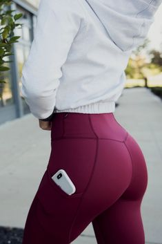 """The Crystal """"Driven For More"""" Legging: - Port Wine Red - Sports & Healts Fitness , Yoga , Bodybuilding Legging Outfits, Yoga Pants Outfit, Leggings Fashion, Yoga Pants Girls, Fitness Outfits, Womens Workout Outfits, Fitness Fashion, Gym Fashion, Fashion Outfits"""