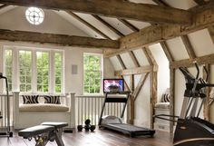 Best of the best in home gym design. Check out big and small home gym design ideas and examples. Small Home Gyms, Gym Lighting, Gym Room At Home, Gambrel Roof, Home Gym Design, Workout Rooms, Exercise Rooms, House And Home Magazine, Traditional Design