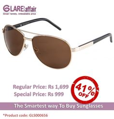 Farenheit Superb 961 Golden Brown C1 Aviator Sunglasses http://www.glareaffair.com/sunglasses/farenheit-superb-961-golden-brown-c1-aviator-sunglasses.html Brand : Farenheit  Regular Price: Rs1,699 Special Price: Rs999  Discount : Rs700 (41%)