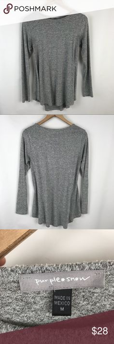 """Anthropologie Purple Snow grey sweater Anthropologie Purple Snow grey sweater  Super soft and comfie! A line shape  Size Med Bust 38"""" Hip 54""""  Length 23 at shortest  27"""" at longest Sleeve 25""""  Comes from smoke free - pet friendly home.  D. G196 Anthropologie Sweaters"""