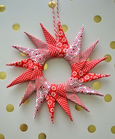 Origami Star Ornament Tutorial – UCreate i would like in all white…or muslin…or…. Very best Origami Papers Origami is one … Origami Christmas Ornament, Fabric Christmas Ornaments, Origami Ornaments, Christmas Sewing, Star Ornament, Handmade Ornaments, Christmas Wreaths, Christmas Crafts, Christmas Decorations
