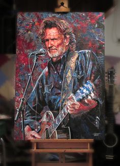 Paintings: Kris Kristofferson by Tom Noll Country Musicians, Country Artists, Me And Bobby Mcgee, Kris Kristofferson, Art Deco Posters, Cartoon Sketches, Army Veteran, Willie Nelson, A Star Is Born