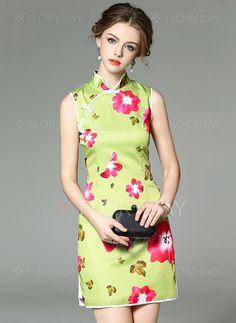 Dresses - $75.59 - Polyester Floral Sleeveless Above Knee Vintage Dresses…