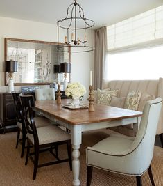 i like the tall upholster bench for seating-- in your breakfast area