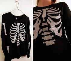 Halloween Crafts - DIY Two Glitter Skeleton Shirt Tutorials. Top...