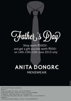 Anita Dongre Menswear Father's Day Special Offer - Shop worth Rs.5000 & get a gift voucher worth Rs.500 from 14 to 16 June 2013   Deals, Sales, Offers, Discounts in Mumbai   MallsMarket