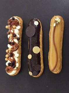 Eclairs: France piped choux buns filled with flavoured creme patisserie and topped with flavoured icing.