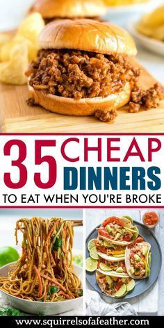 How to eat well ON A BUDGET! These cheap dinner ideas are perfect for saving money on food and at the grocery store. Cheap Family Meals, Cheap Easy Meals, Cheap Dinners, Inexpensive Meals, Frugal Meals, Budget Meals, Budget Recipes, Meals For Large Families, Healthy Cheap Meals