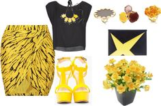 """Black & Yellow"" by reshu-rathi ❤ liked on Polyvore"
