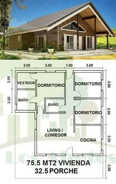 Modern House Floor Plans, Small House Plans, Bungalow House Design, Modern House Design, Cabin Homes, Log Homes, House Blueprints, Little Houses, Design Case