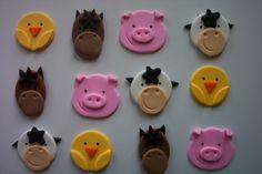Fondant Cupcake or Cookie Topper Edible Farm Animals | cookiecovers - Edibles on ArtFire