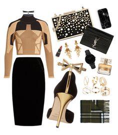 """""""Black & Gold Glam"""" by mayacblls on Polyvore featuring adidas Originals, Jupe By Jackie, Oscar de la Renta, Karl Lagerfeld, Yves Saint Laurent, Michael Kors, Burberry, CLUSE, Georgia Perry and Givenchy"""