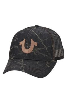 Men's True Religion Brand Jeans Spray Print Trucker Cap - Black