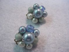 Vintage Blue pearl and crystal clip on Earrings signed Japan