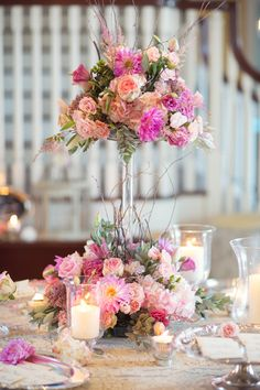 Two Tiered Floral and Curly Twig Arrangement | photography by http://vitalicphoto.com