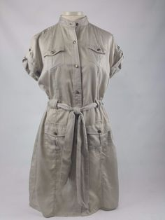 Banana Republic Safari Shirt Dress-Lightweight Tan Button Down Size 10 (W4) | eBay