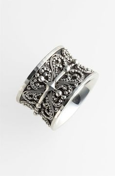 Lois Hill 'Haveli' Sterling Silver Granulated Cigar Band Ring